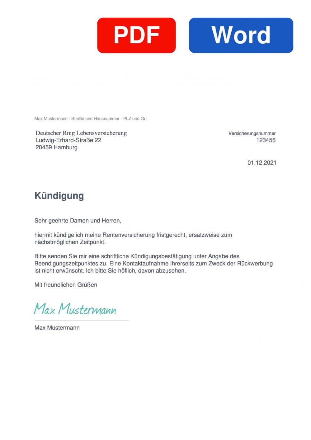 Deutscher Ring Rentenversicherung Muster Vorlage für Kündigungsschreiben