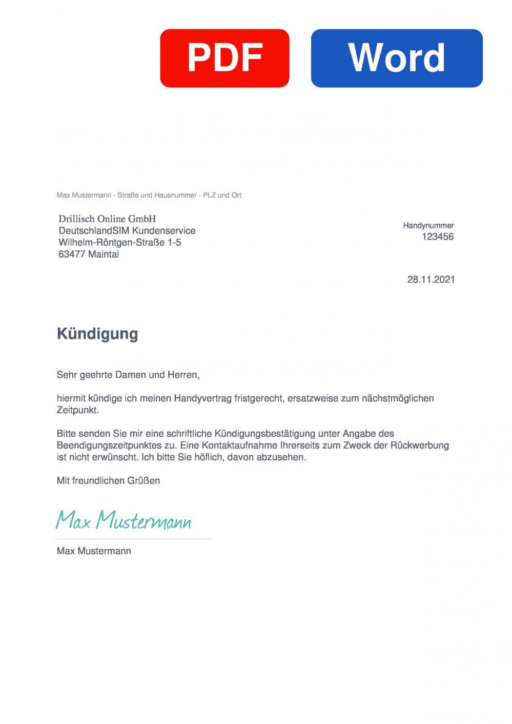 DeutschlandSIM Muster Vorlage für Kündigungsschreiben