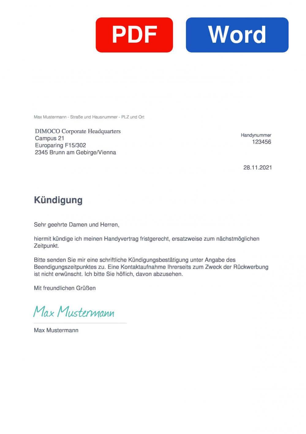 DIMOCO Muster Vorlage für Kündigungsschreiben
