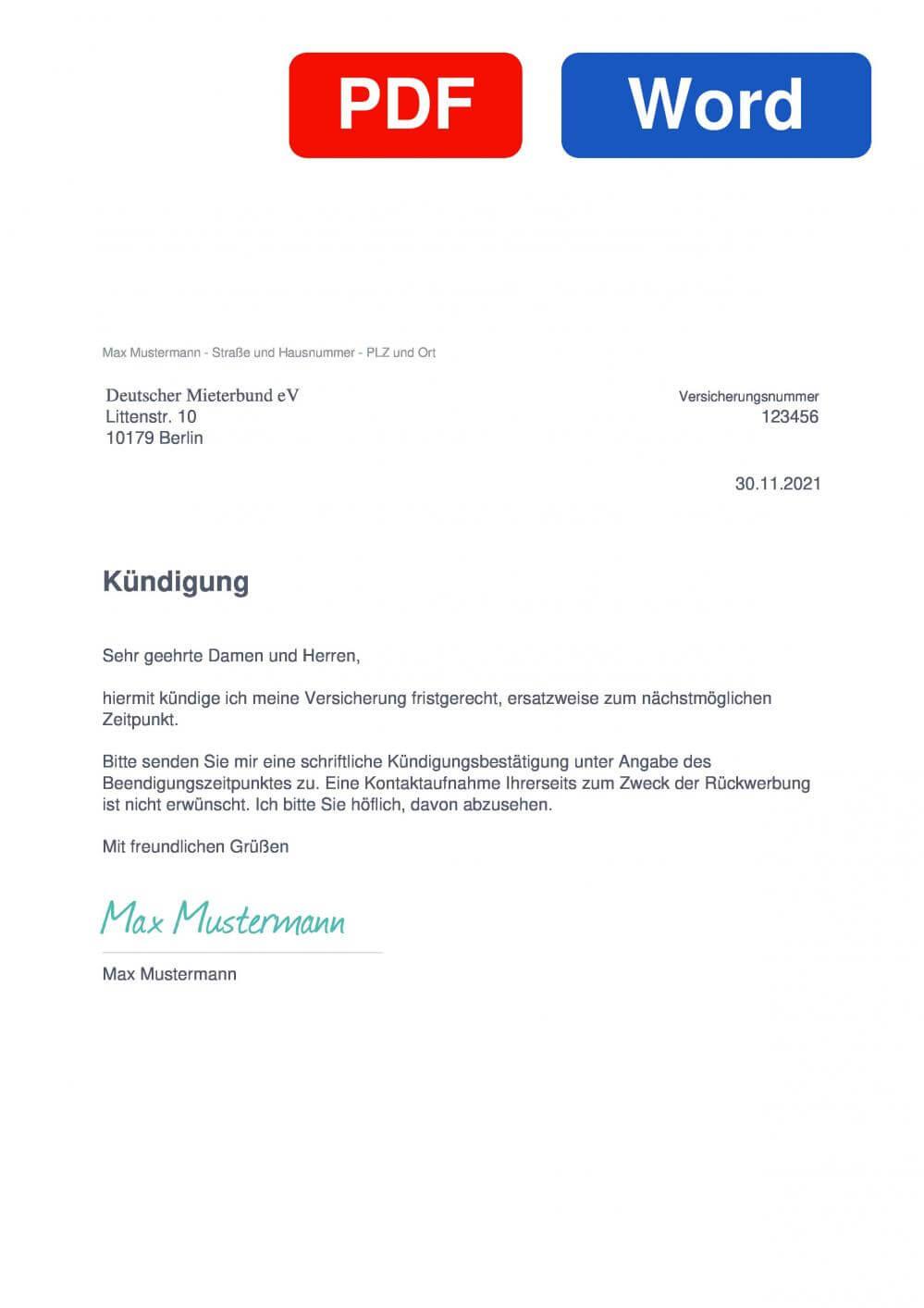 DMB Rechtsschutz Muster Vorlage für Kündigungsschreiben