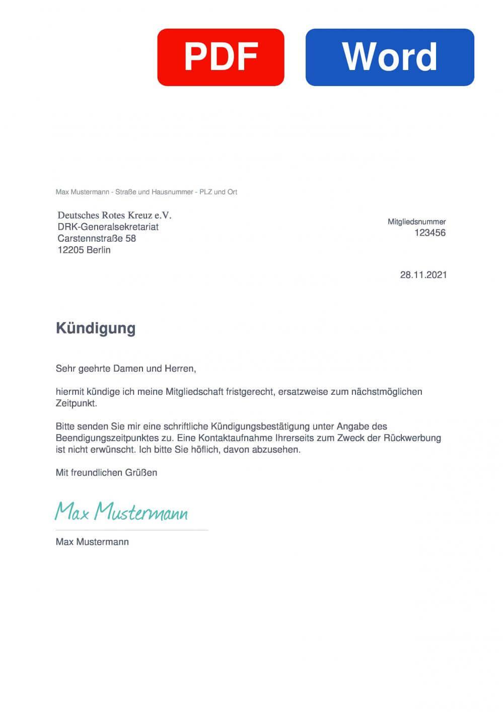 DRK Deutsches Rotes Kreuz Muster Vorlage für Kündigungsschreiben