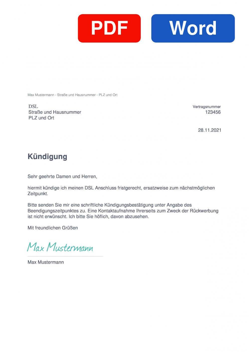 DSL Muster Vorlage für Kündigungsschreiben