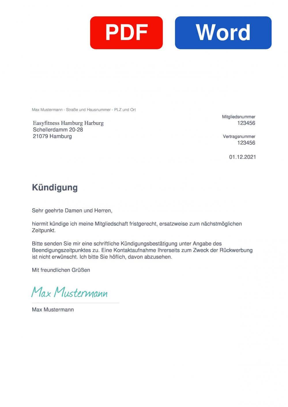 EASYFITNESS Hamburg Harburg Muster Vorlage für Kündigungsschreiben