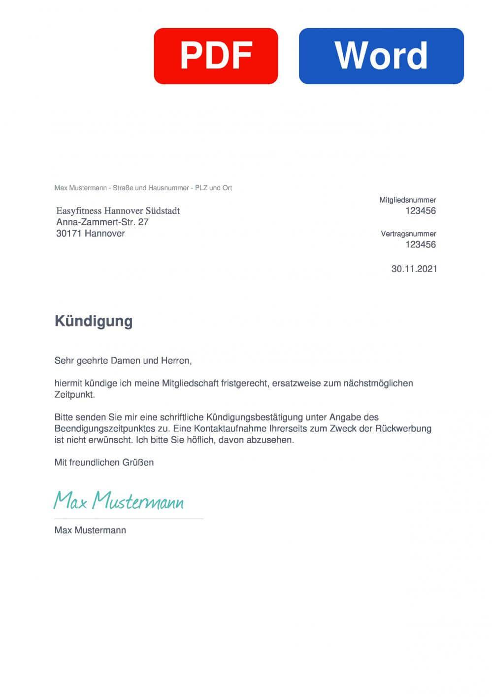 EASYFITNESS Hannover Südstadt Muster Vorlage für Kündigungsschreiben