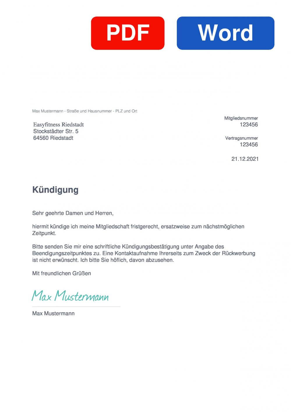 EASYFITNESS Riedstadt Muster Vorlage für Kündigungsschreiben