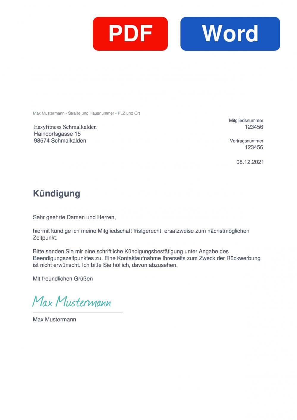 EASYFITNESS Schmalkalden Muster Vorlage für Kündigungsschreiben