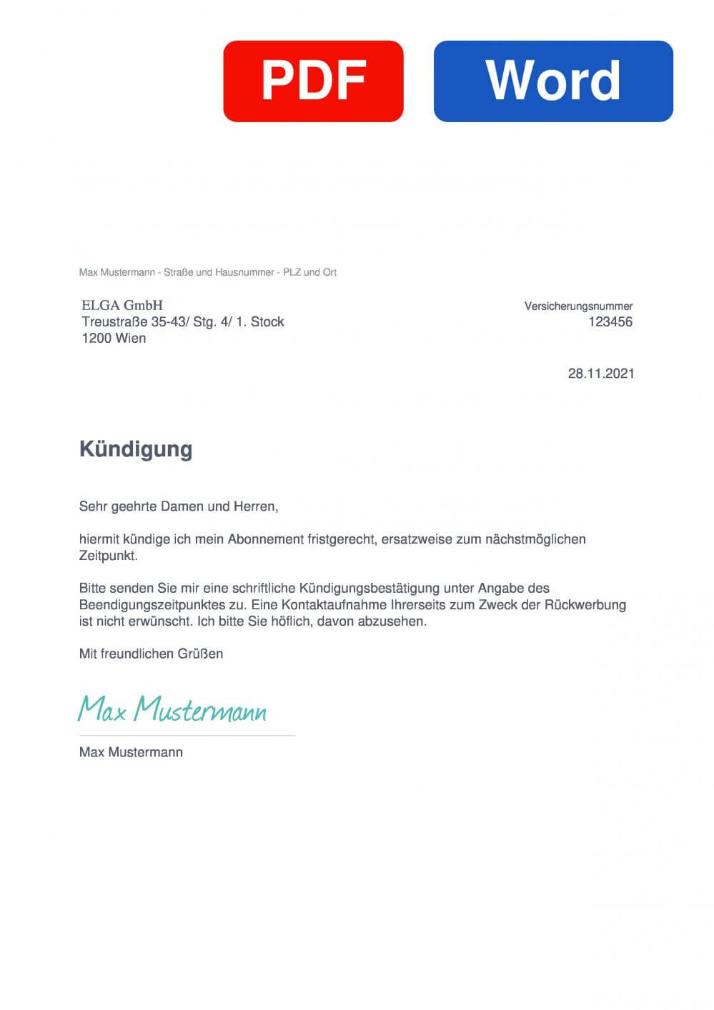 ELGA Muster Vorlage für Kündigungsschreiben