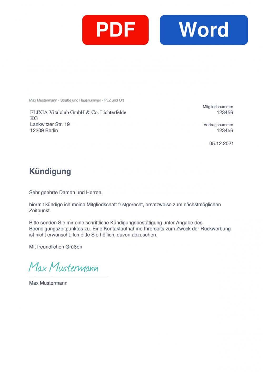 ELIXIA Berlin Muster Vorlage für Kündigungsschreiben