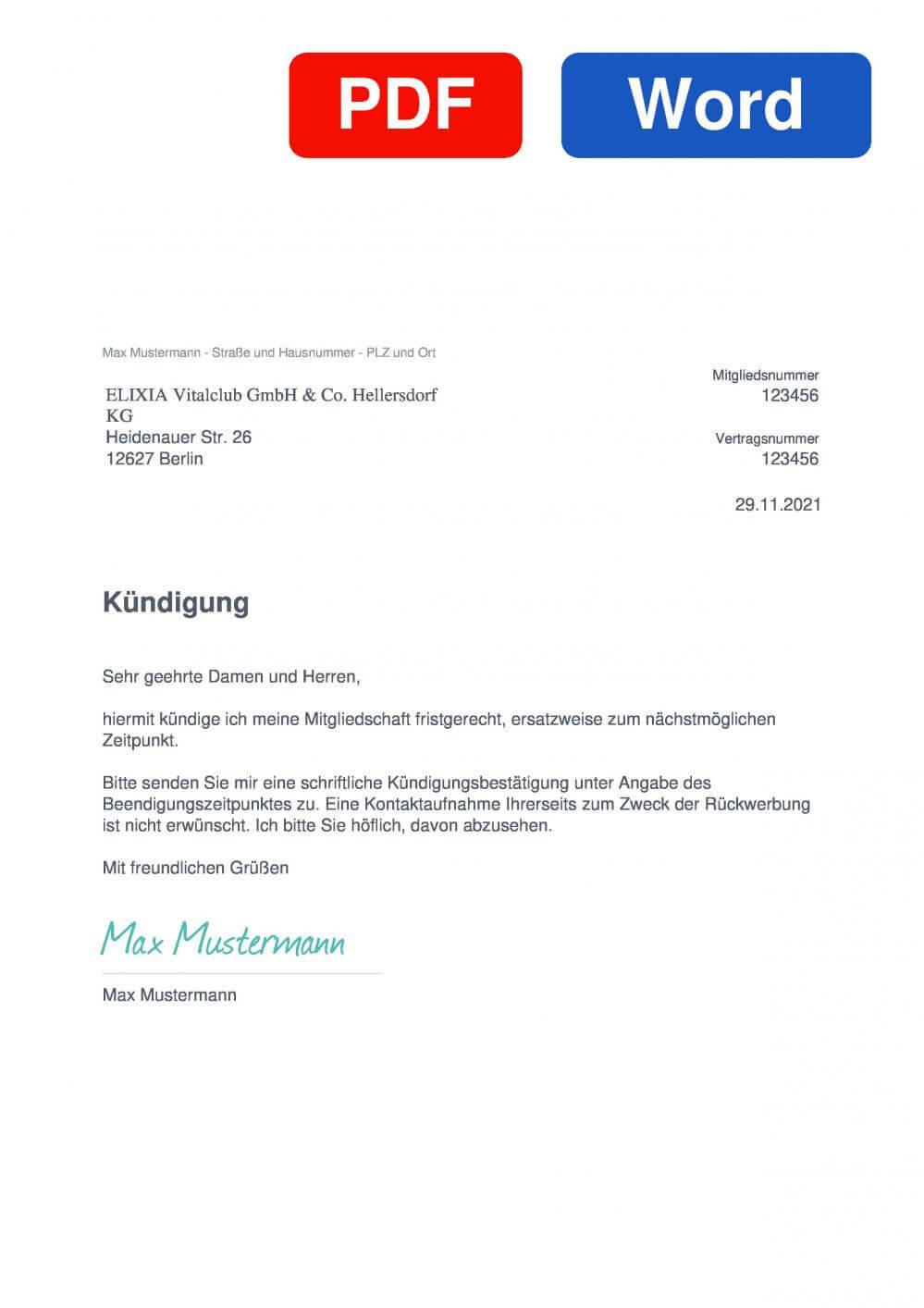 ELIXIA Hellersdorf Muster Vorlage für Kündigungsschreiben