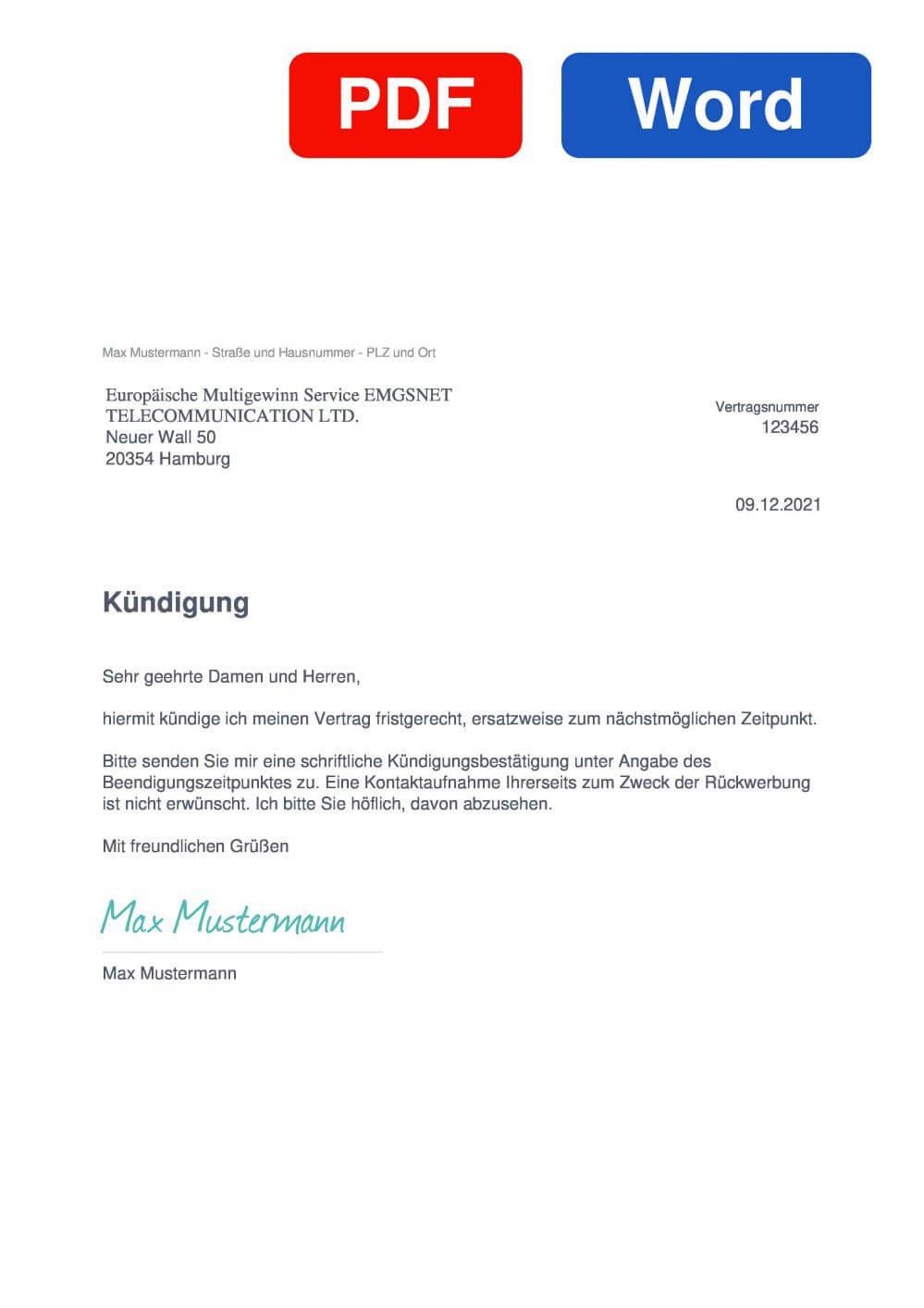 EMGS Muster Vorlage für Kündigungsschreiben