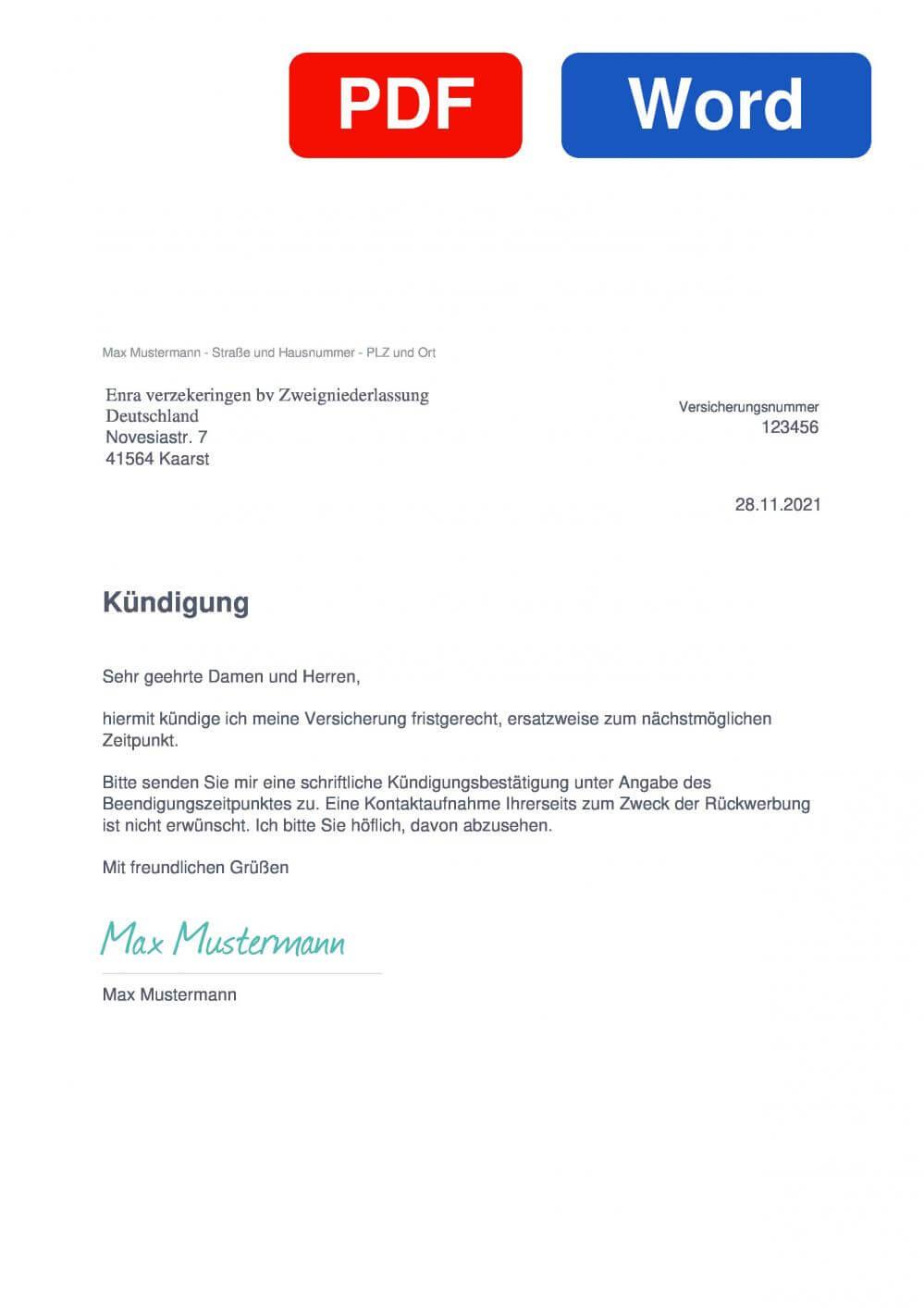 Enra Fahrradversicherung Muster Vorlage für Kündigungsschreiben