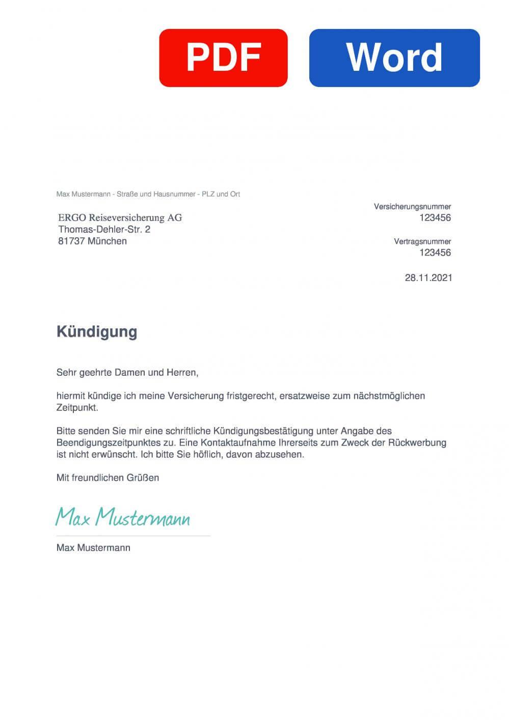 ERGO Reiserücktrittsversicherung Muster Vorlage für Kündigungsschreiben