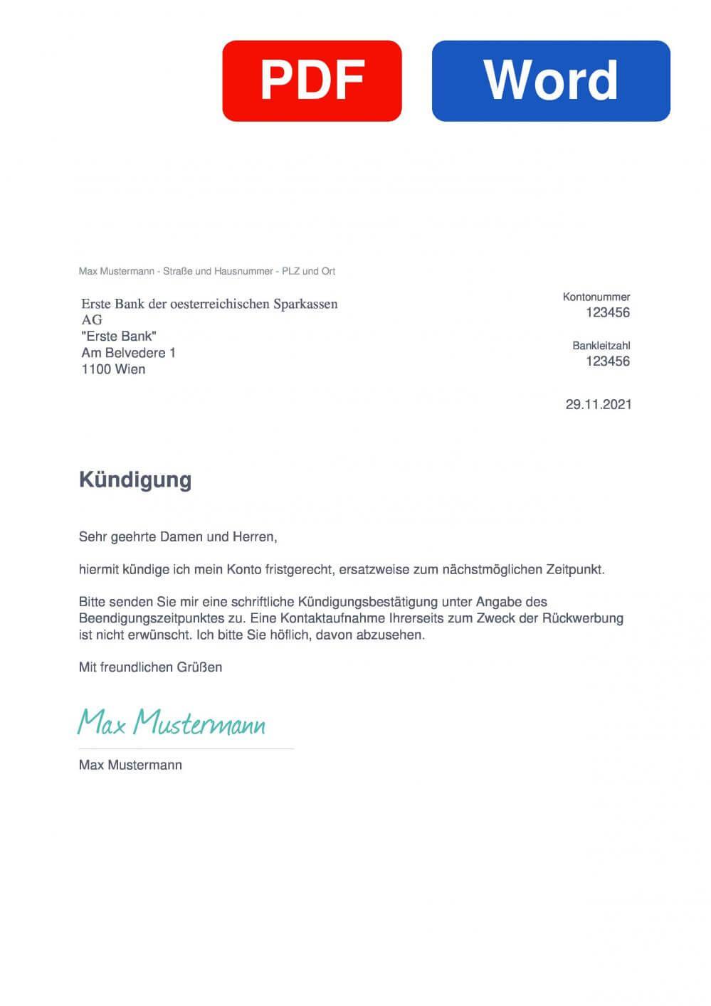 Erste Bank Muster Vorlage für Kündigungsschreiben