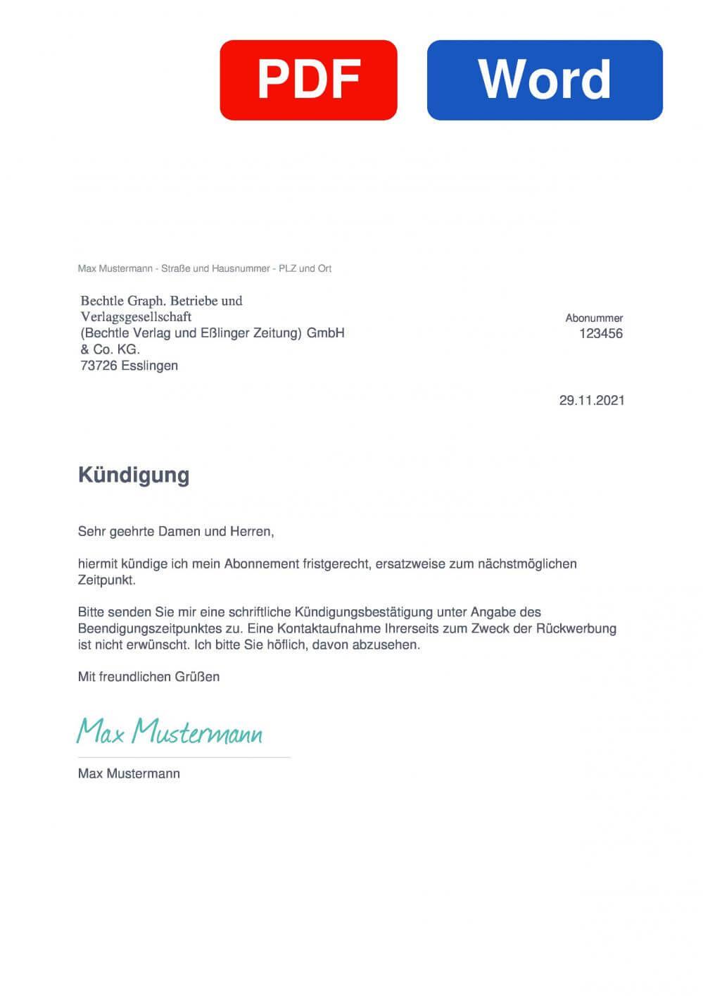 Esslinger zeitung Muster Vorlage für Kündigungsschreiben