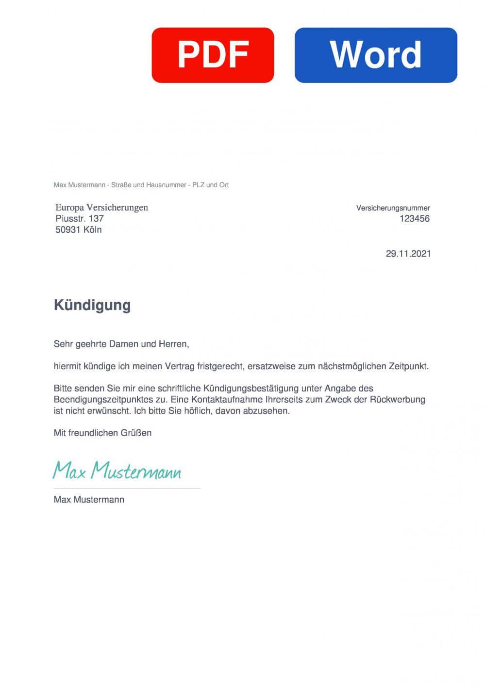 Europa KFZ Muster Vorlage für Kündigungsschreiben