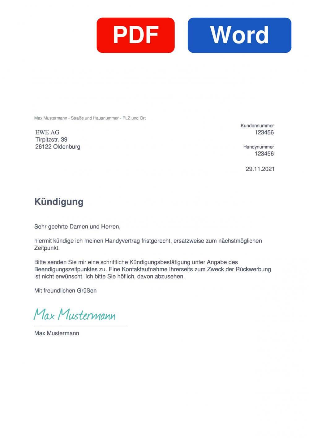 EWE Tel Muster Vorlage für Kündigungsschreiben