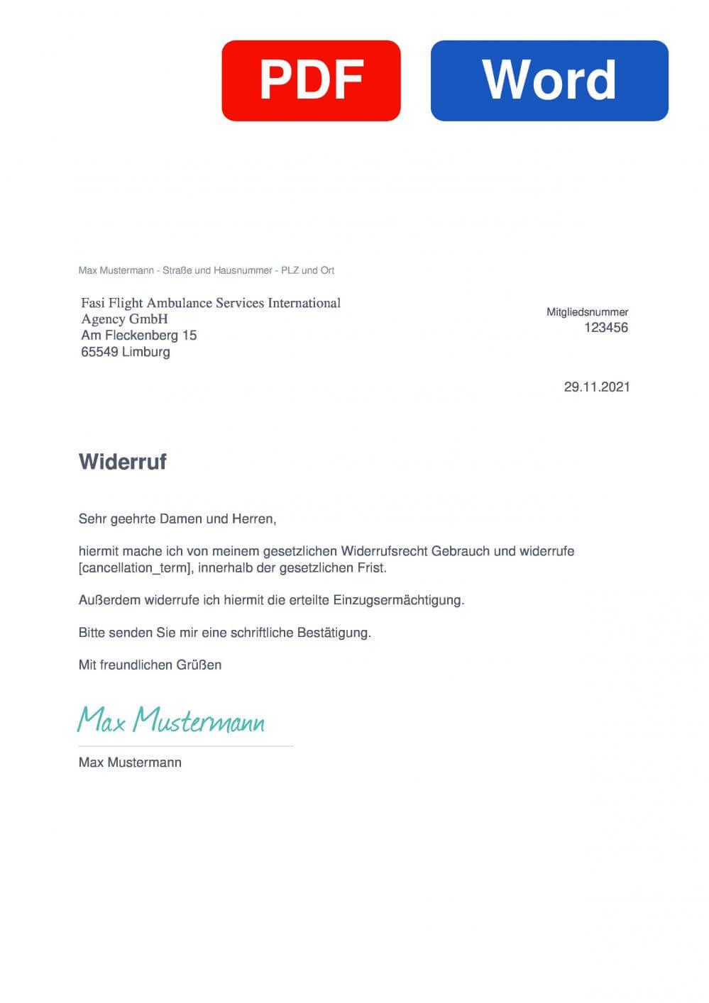 FASI Flug Ambulanz Service International Muster Vorlage für Wiederrufsschreiben