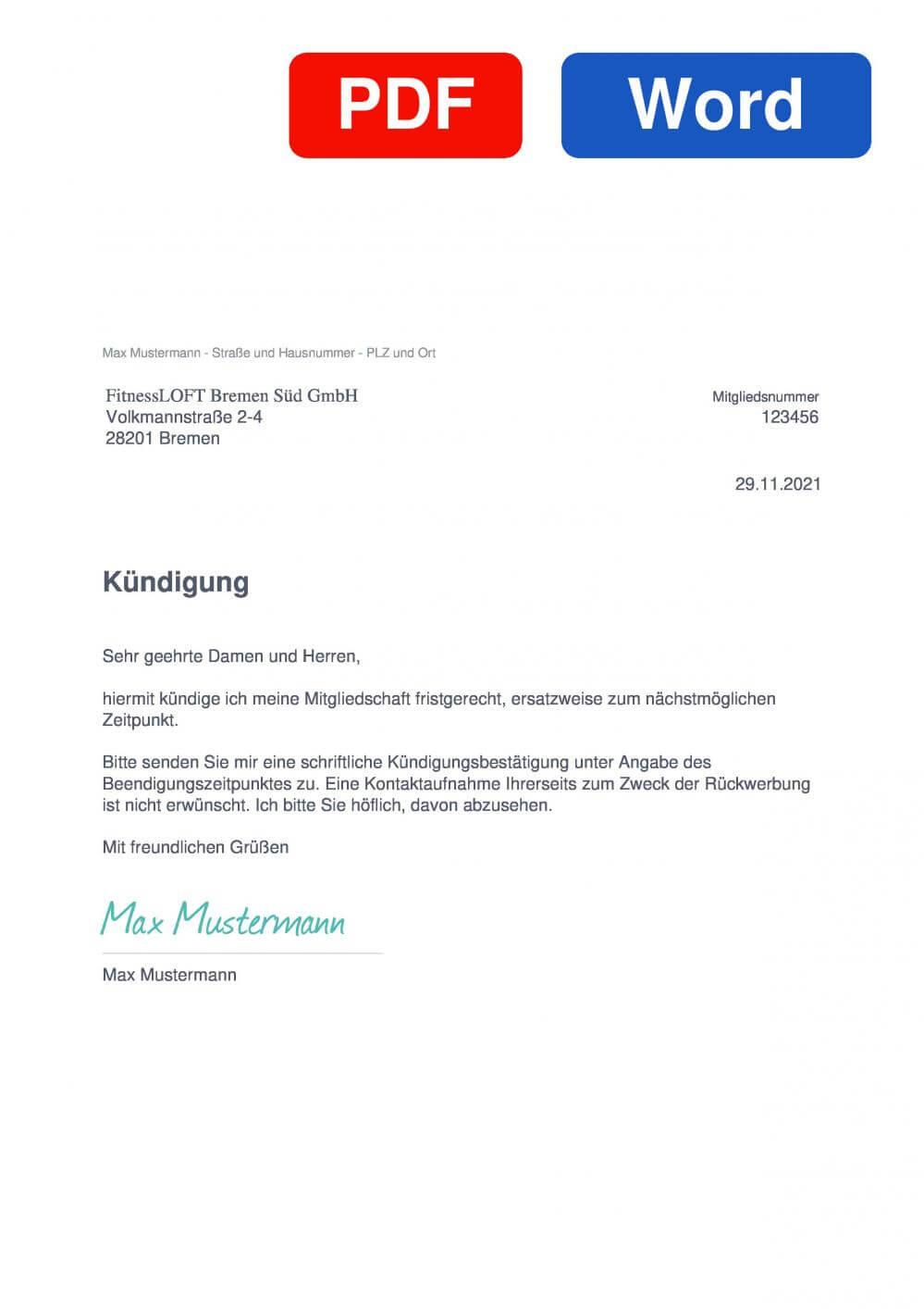 FitnessLOFT Bremen Süd Muster Vorlage für Kündigungsschreiben