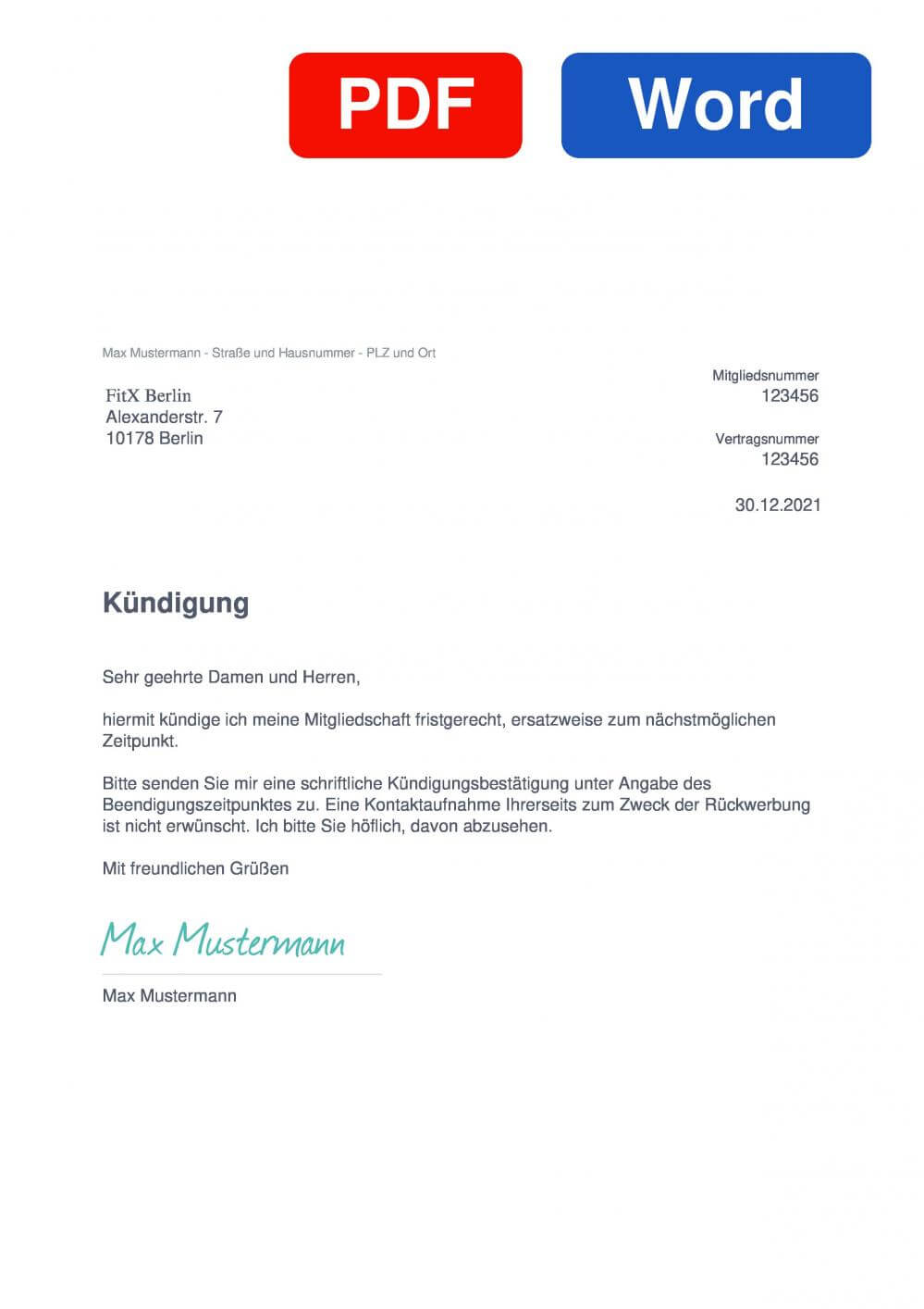 FitX Berlin Muster Vorlage für Kündigungsschreiben