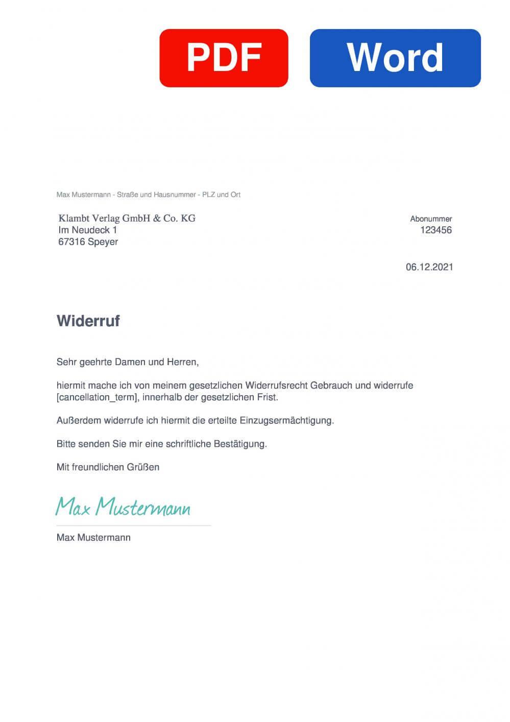 Freizeit & Rätsel-Magazin Muster Vorlage für Wiederrufsschreiben