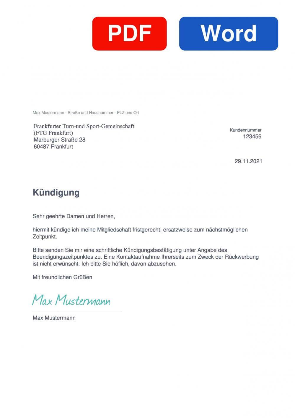 FTG Frankfurt Muster Vorlage für Kündigungsschreiben
