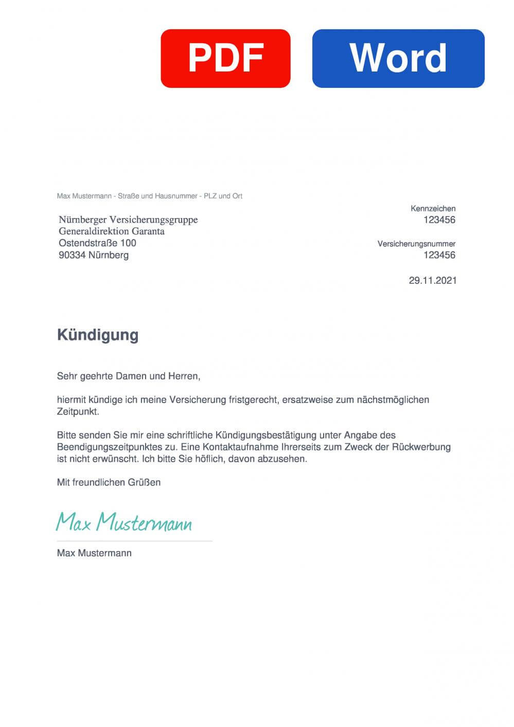 GARANTA KFZ-Versicherung Muster Vorlage für Kündigungsschreiben