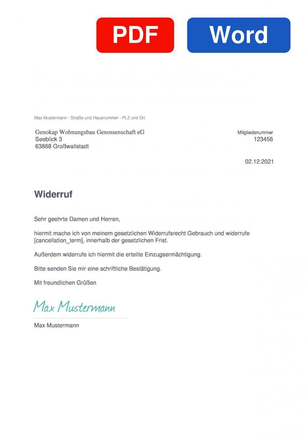 Genokap Wohnungsbaugenossenschaft eG Muster Vorlage für Wiederrufsschreiben