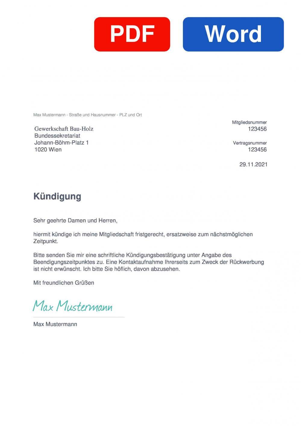Gewerkschaft Bau-Holz Muster Vorlage für Kündigungsschreiben