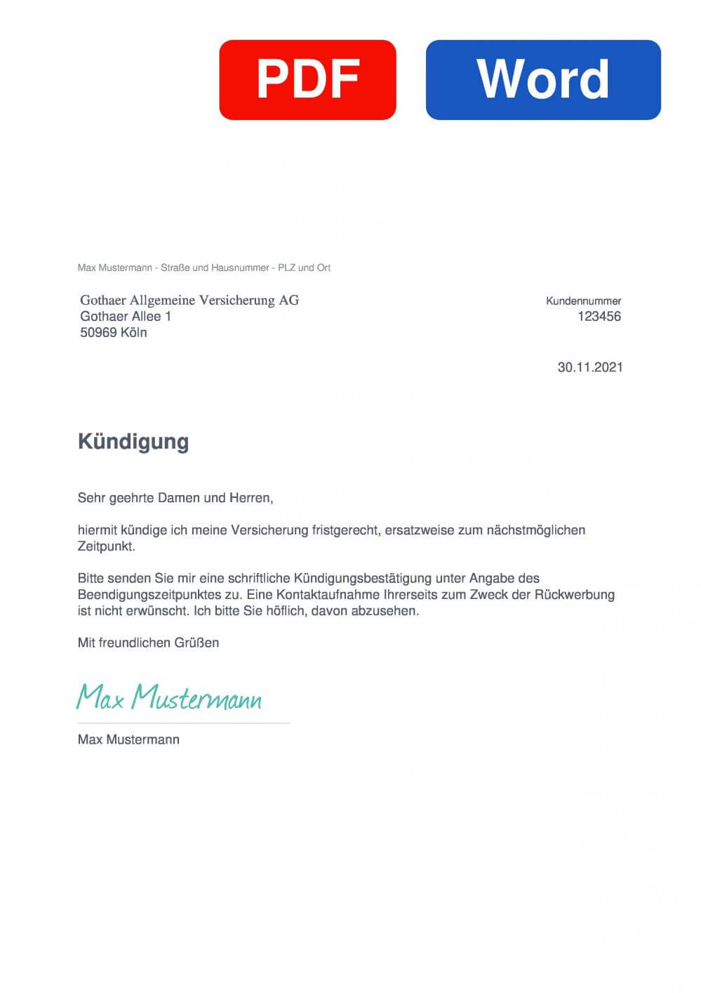Gothaer Haftpflichtversicherung Muster Vorlage für Kündigungsschreiben