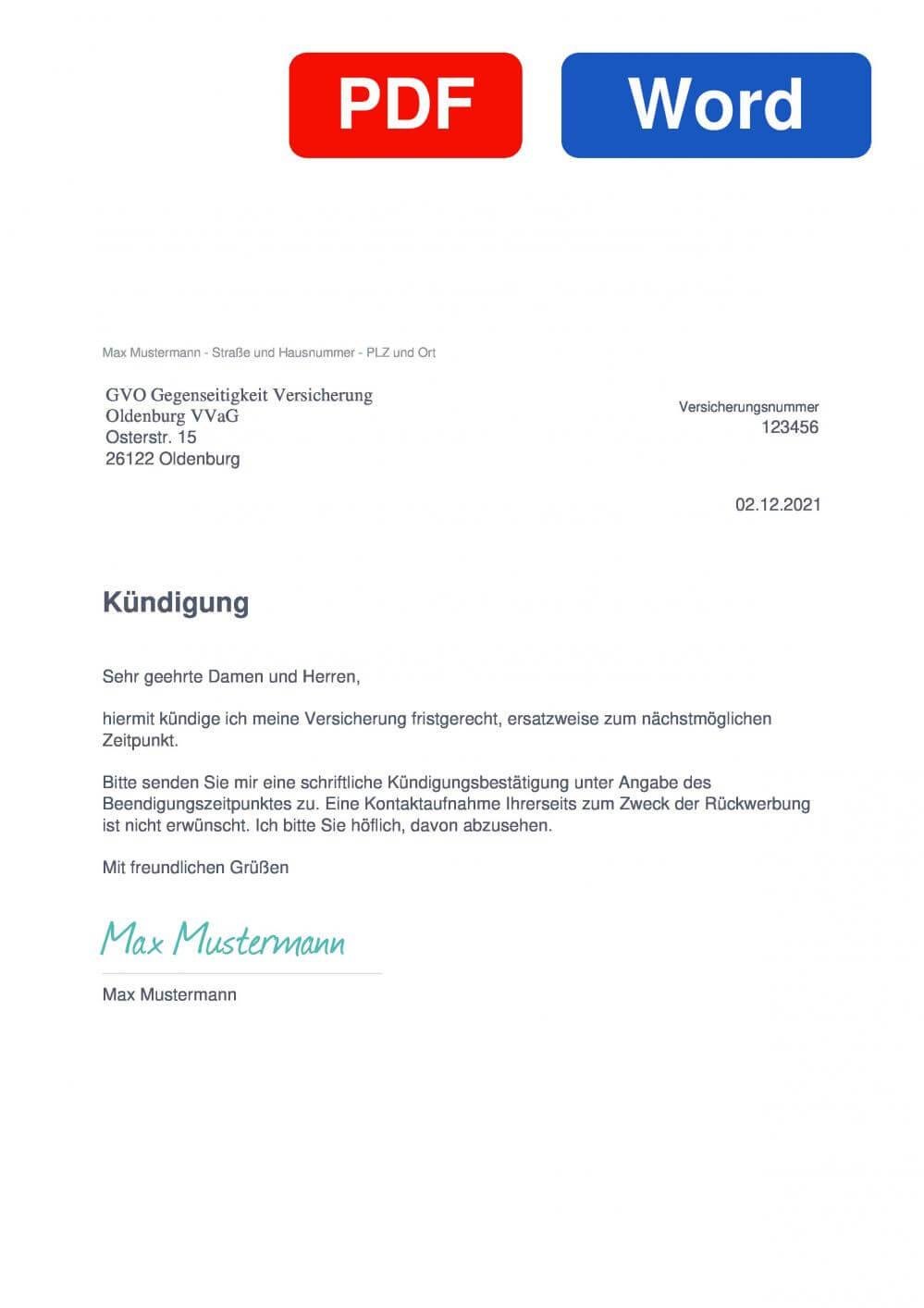 GVO Haftpflicht Muster Vorlage für Kündigungsschreiben
