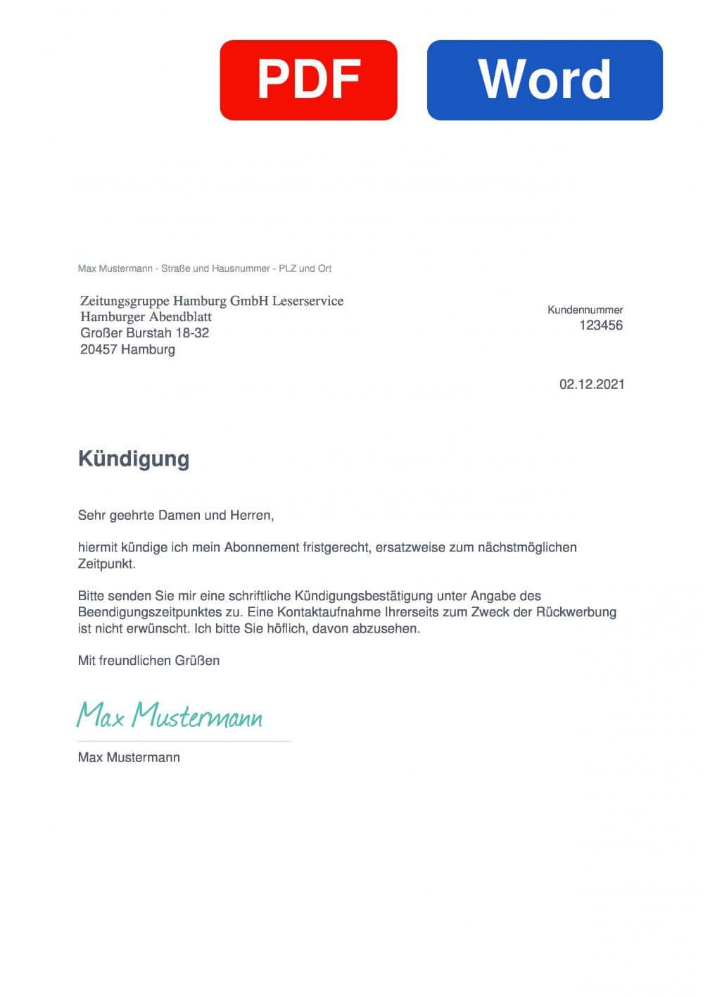 Hamburger Abendblatt Muster Vorlage für Kündigungsschreiben