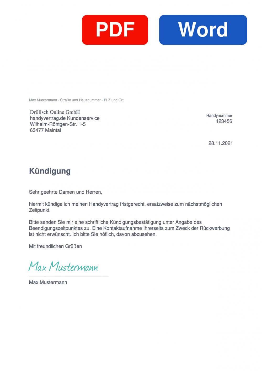 handyvertrag.de Muster Vorlage für Kündigungsschreiben