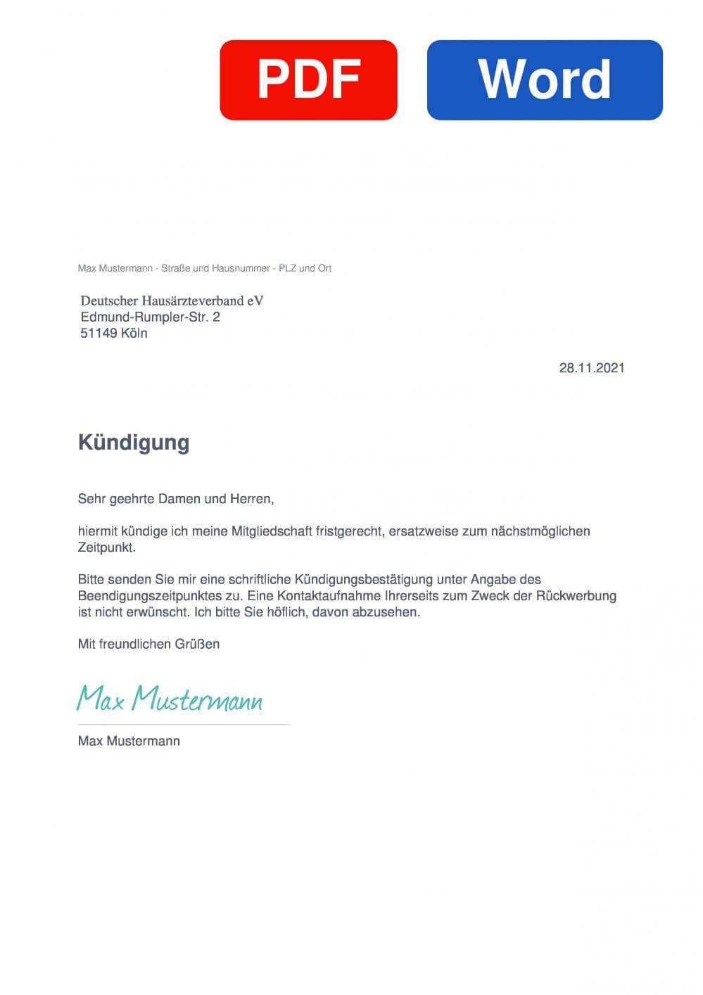 Hausarztprogramm Muster Vorlage für Kündigungsschreiben