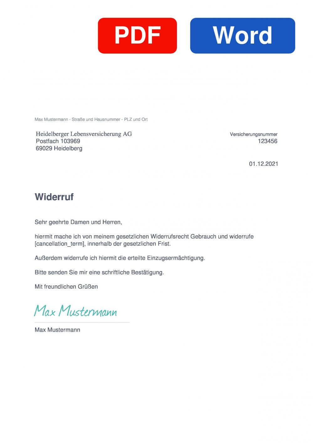 Heidelberger Leben Muster Vorlage für Wiederrufsschreiben
