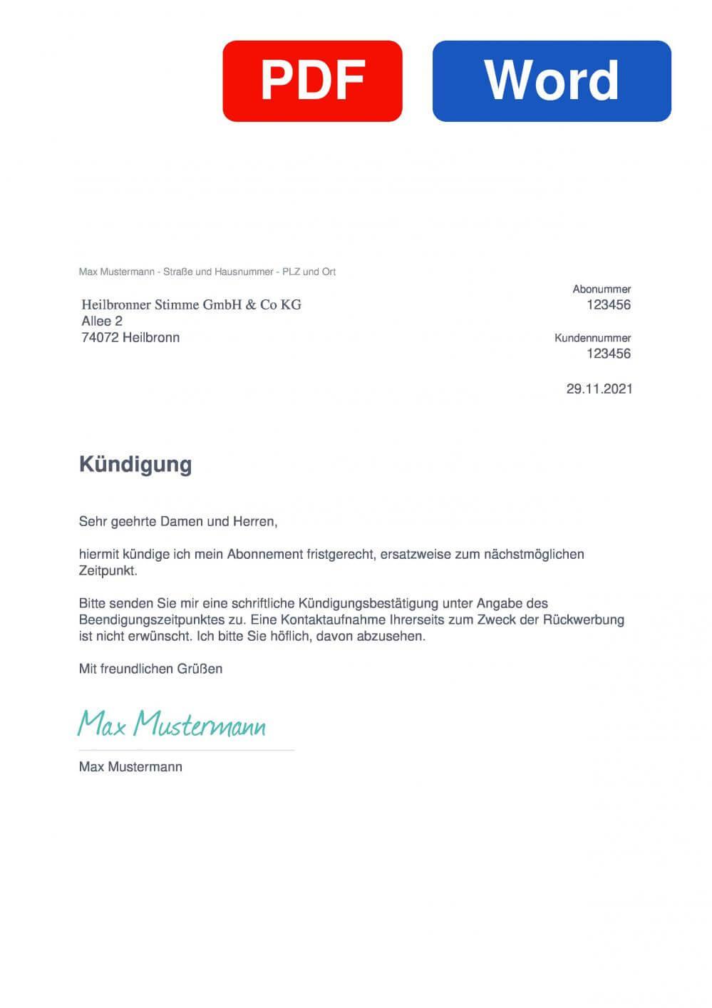 Heilbronner Stimme Muster Vorlage für Kündigungsschreiben