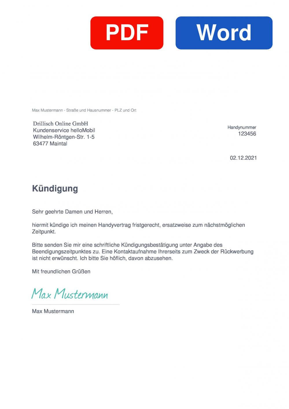 helloMobil Muster Vorlage für Kündigungsschreiben