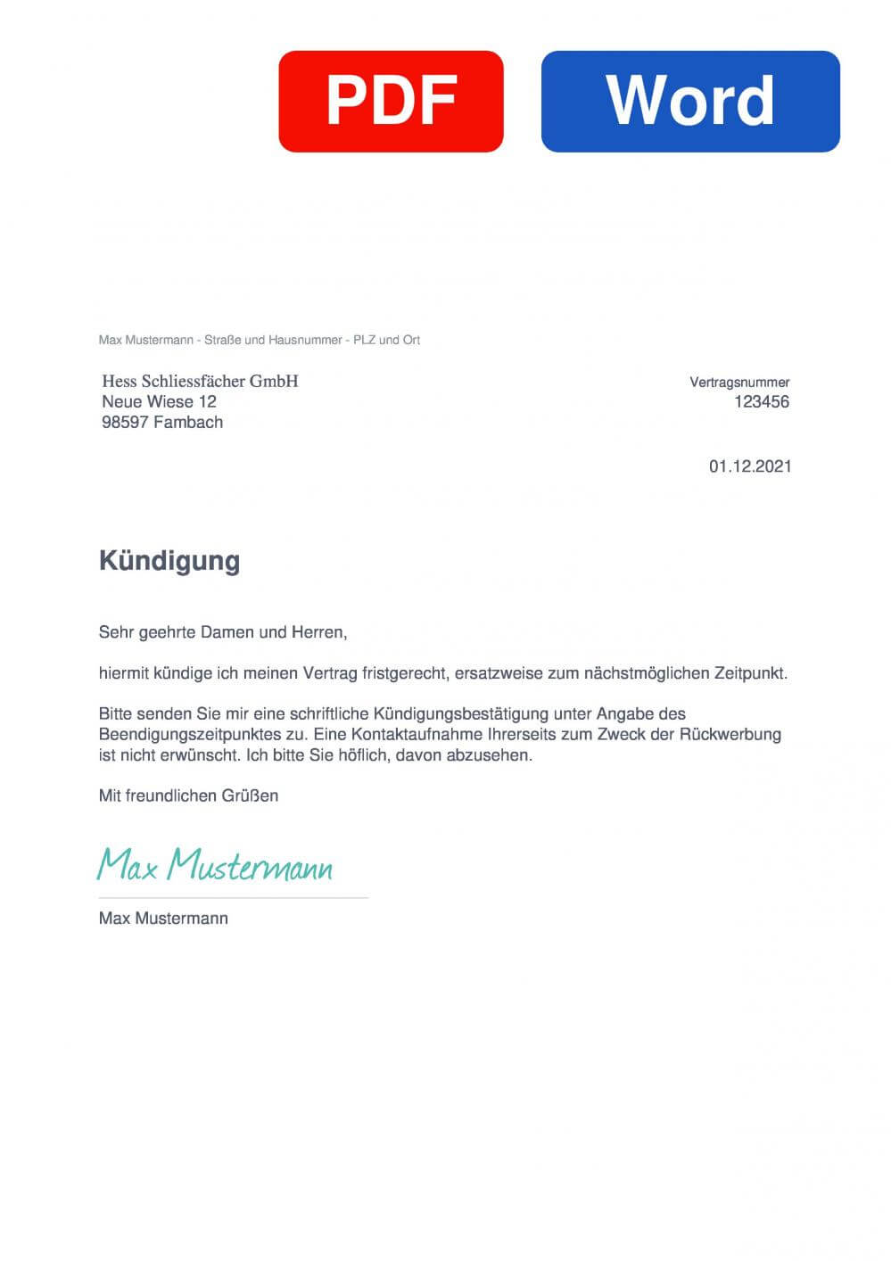 Hess Schließfächer Muster Vorlage für Kündigungsschreiben