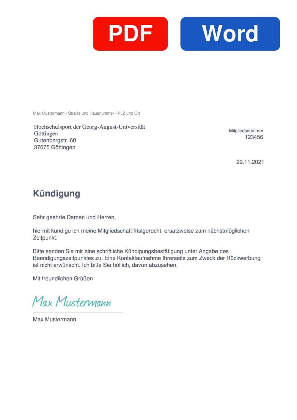 Hochschulsport Göttingen Muster Vorlage für Kündigungsschreiben