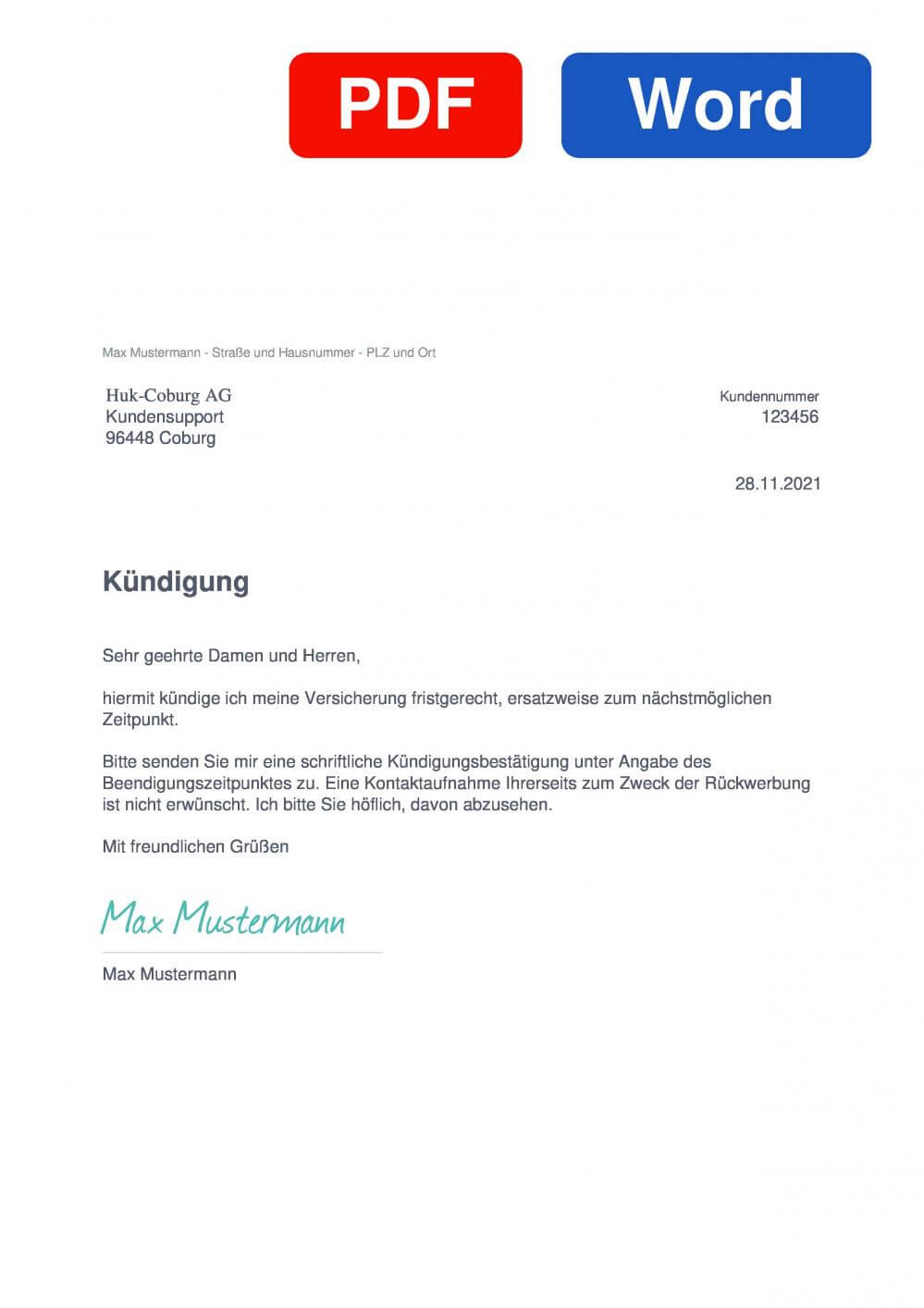 HUK-COBURG Haftpflichtversicherung Muster Vorlage für Kündigungsschreiben