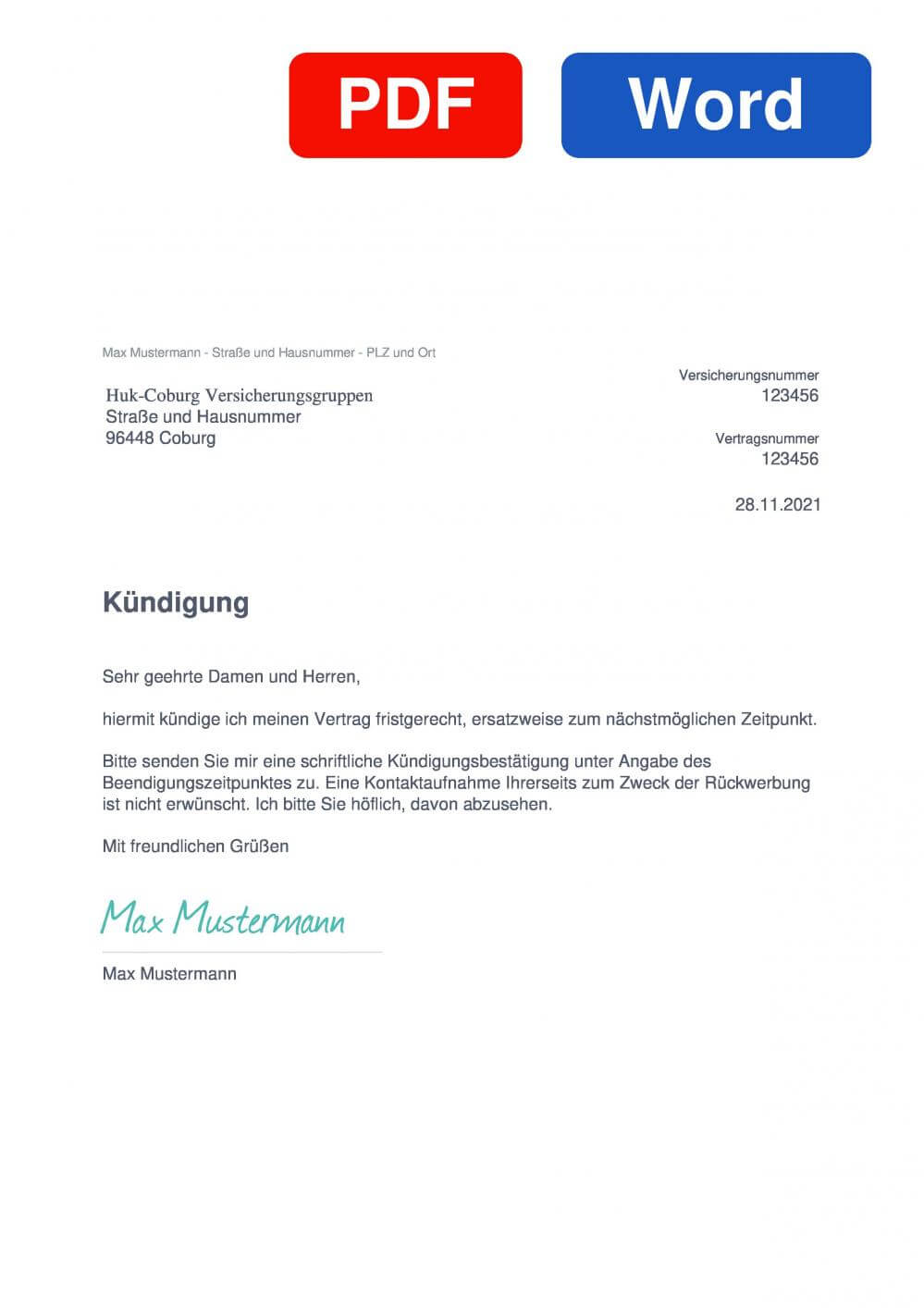 HUK-COBURG Rechtsschutzversicherung Muster Vorlage für Kündigungsschreiben