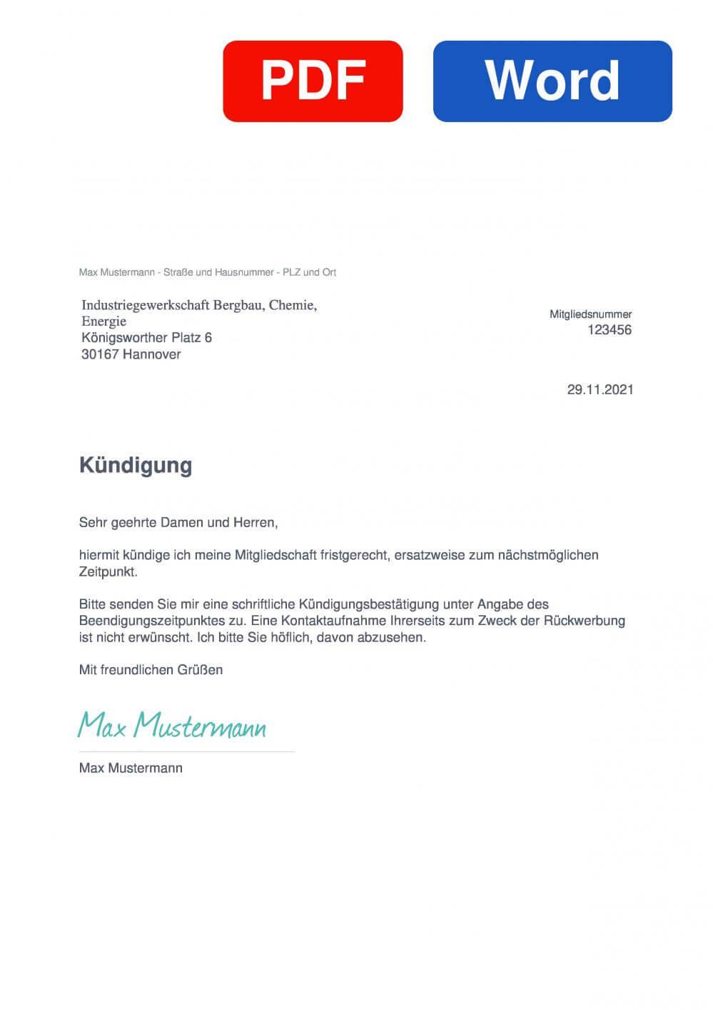 IG BCE Muster Vorlage für Kündigungsschreiben