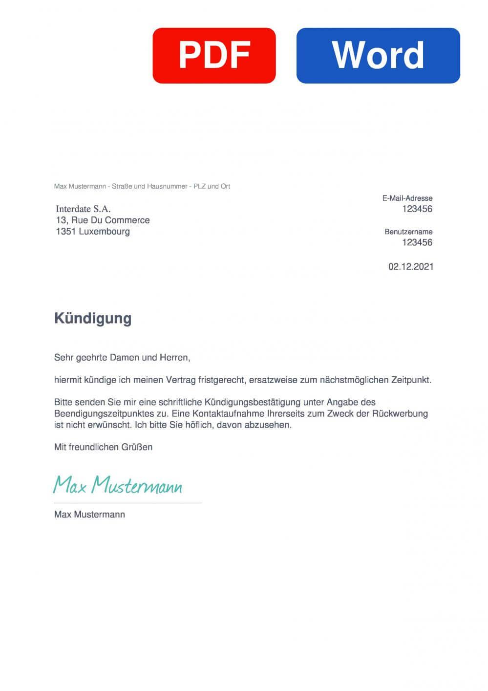 Interdate Muster Vorlage für Kündigungsschreiben