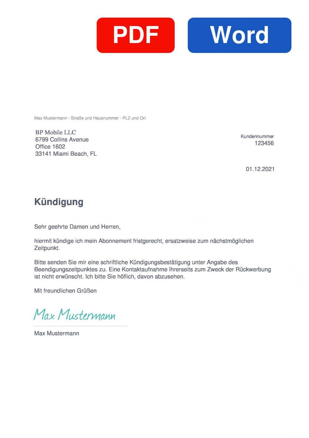 iScanner Muster Vorlage für Kündigungsschreiben