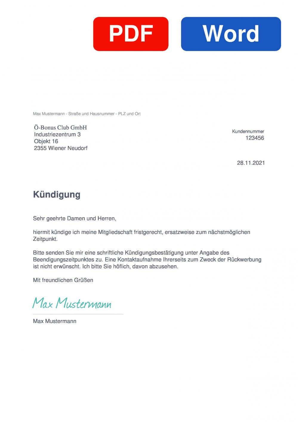 JÖ Bonusclub Muster Vorlage für Kündigungsschreiben