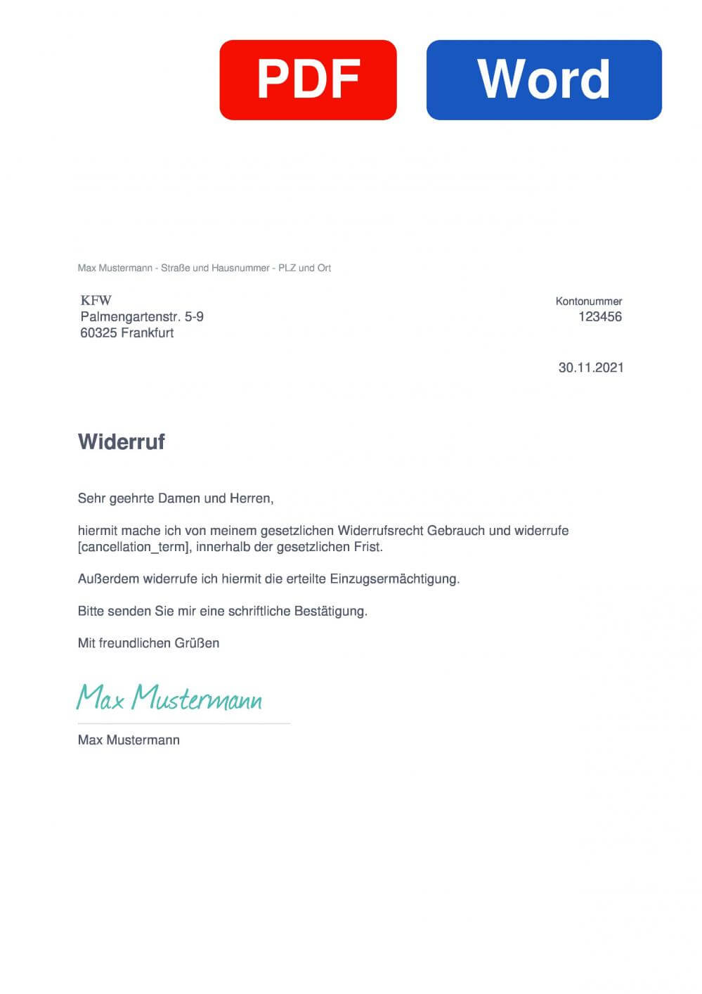 KFW Muster Vorlage für Wiederrufsschreiben