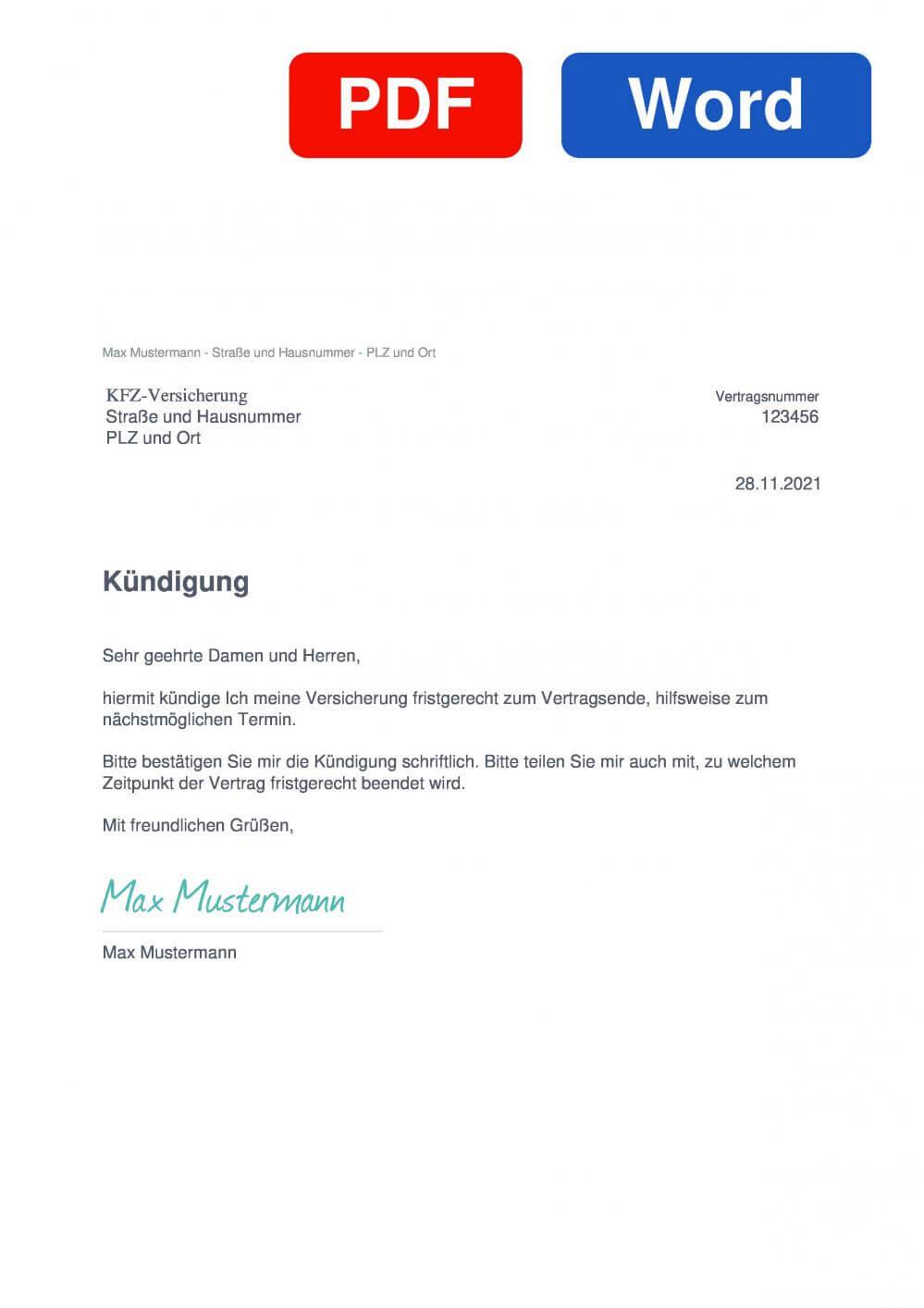 KFZ-Versicherung Muster Vorlage für Kündigungsschreiben