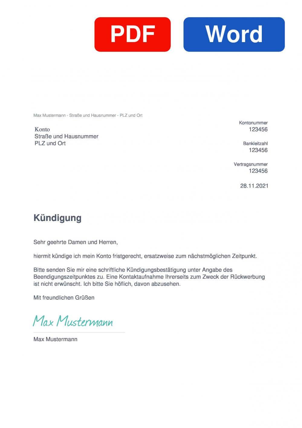 Konto Muster Vorlage für Kündigungsschreiben