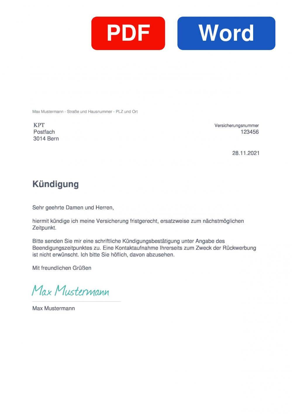 KPT Muster Vorlage für Kündigungsschreiben