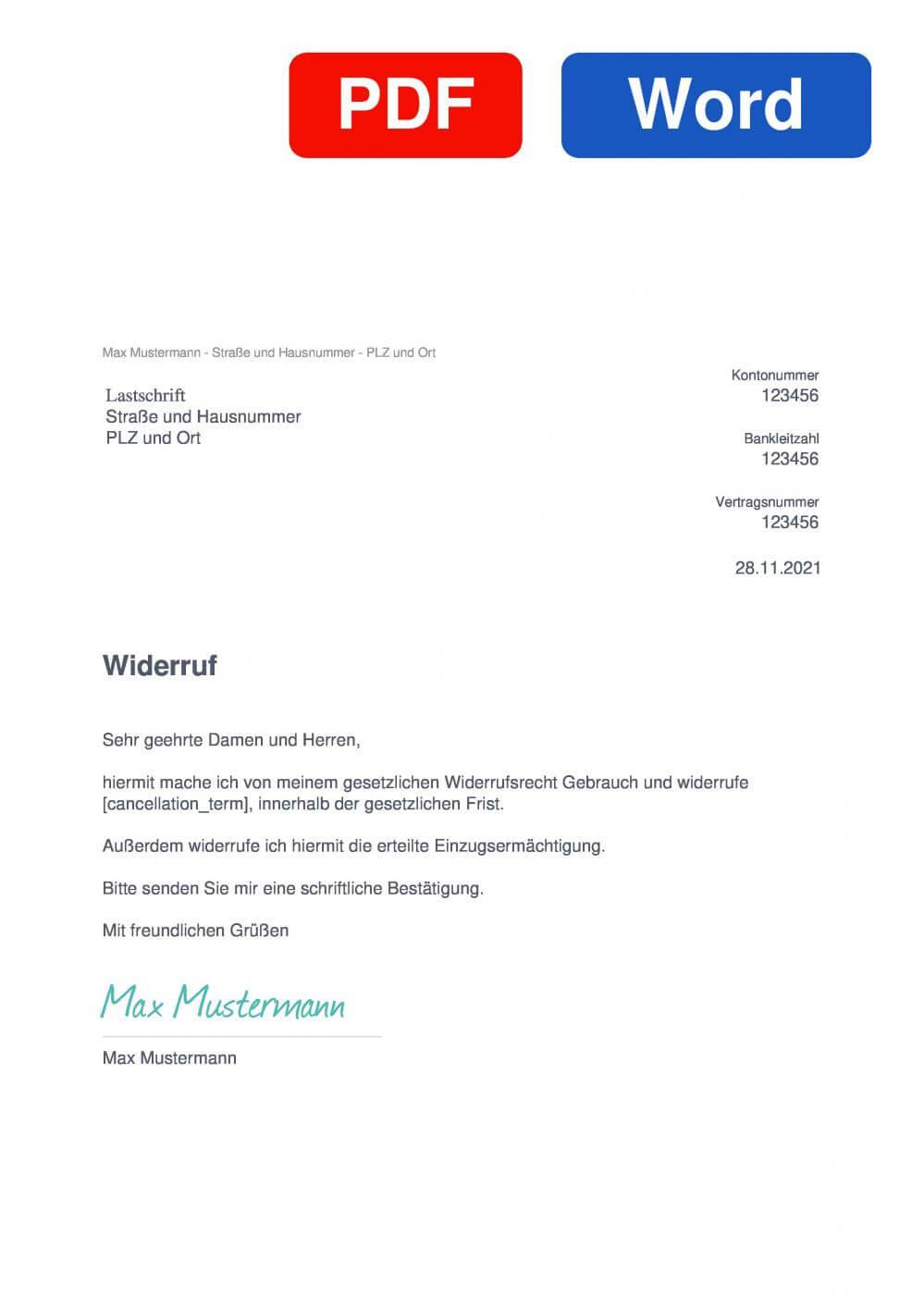 Lastschrift Muster Vorlage für Wiederrufsschreiben