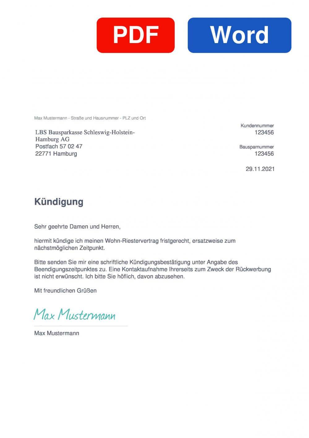 LBS Wohn-Riester Bausparkasse Schleswig-Holstein-Hamburg AG Muster Vorlage für Kündigungsschreiben